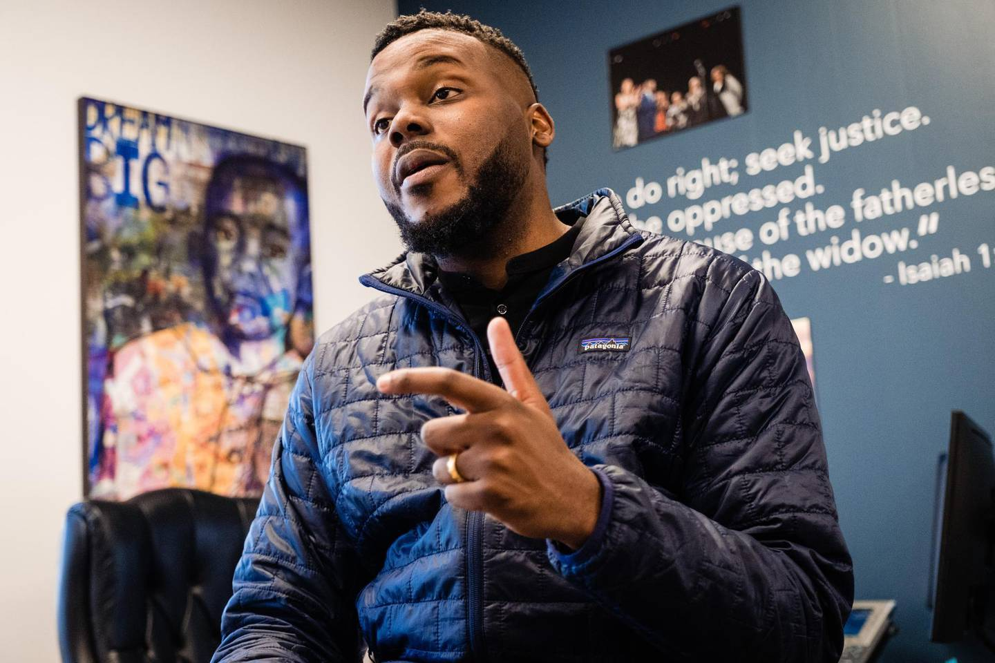 Michael Tubbs, Mayor of Stockton, is seen at his office in Stockton, California on February 7, 2020. - Mayor Tubbs with the help of the Stockton Economic Empowerment Demonstration implemented an18 month trial of Universal Basic Income for 125 residents of his city. The scoffed-at idea of paying everyone a basic income as machines take people's jobs is getting a fresh look as a possible remedy for economies cratered by the coronavirus pandemic. (Photo by Nick Otto / AFP)