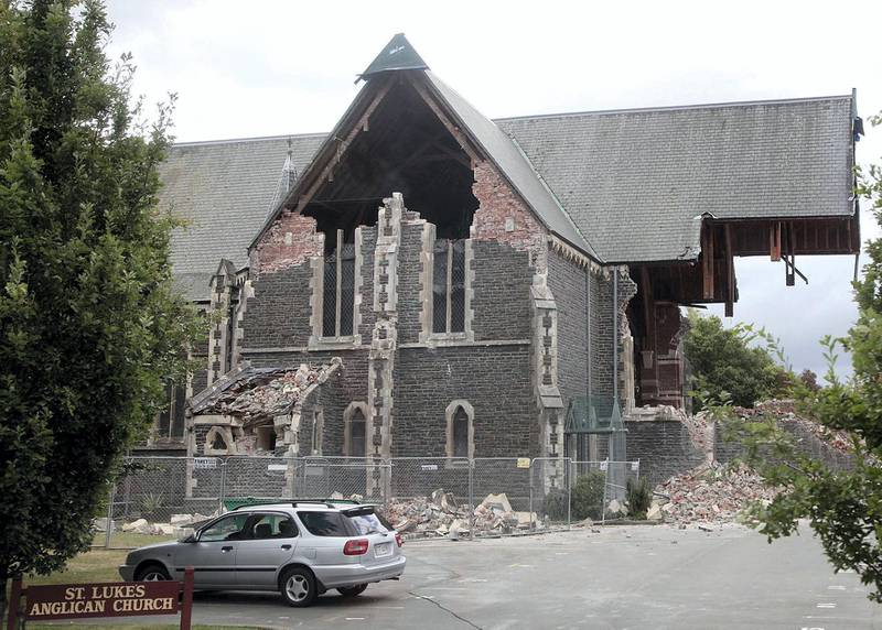 St. Lukes Anglican Church on February 23, 2011, a day after it was badly damaged when Christchurch was rocked by a 6.3 magnitude earthquake. AFP