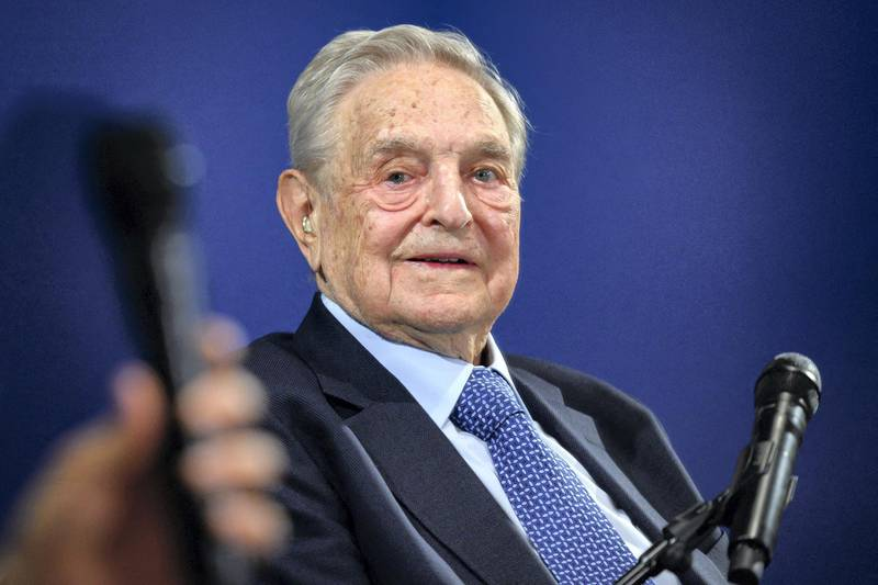 Hungarian-born US investor and philanthropist George Soros looks on after having delivered a speech on the sidelines of the World Economic Forum (WEF) annual meeting, on January 23, 2020 in Davos, eastern Switzerland. (Photo by FABRICE COFFRINI / AFP)