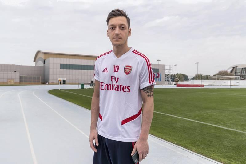 DUBAI, UNITED ARAB EMIRATES. 10 FEBRUARY 2020. Mesut Ozil, professional football player for Arsenal. (Photo: Antonie Robertson/The National) Journalist: John McAuley. Section: Sport.