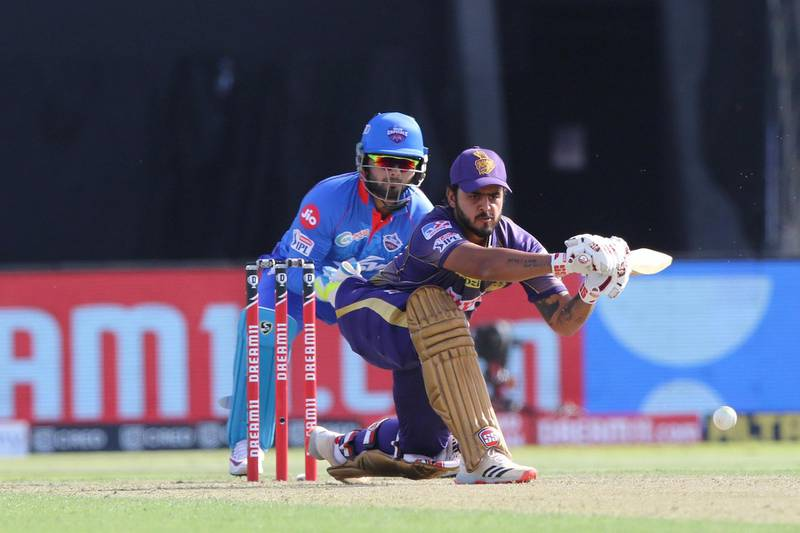 Nitish Rana of Kolkata Knight Riders plays a shot during match 42 of season 13 of the Dream 11 Indian Premier League (IPL) between the Kolkata Knight Riders and the Delhi Capitals at the Sheikh Zayed Stadium, Abu Dhabi  in the United Arab Emirates on the 24th October 2020.  Photo by: Pankaj Nangia  / Sportzpics for BCCI