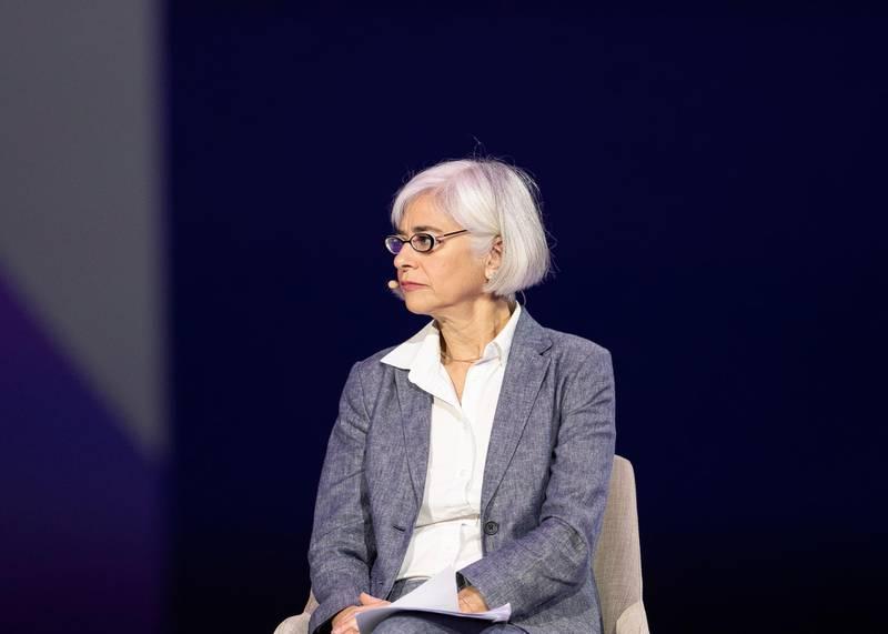 DUBAI, UNITED ARAB EMIRATES. 16 FEBRUARY 2020. CAREN GROWN, Senior Director for Gender, World Bank Group; at GLOBAL GENDER BALANCE: BETWEEN RESPONSIBILITY AND RESPONSIVENESS session at Global Women's Forum Dubai.(Photo: Reem Mohammed/The National)Reporter:Section: