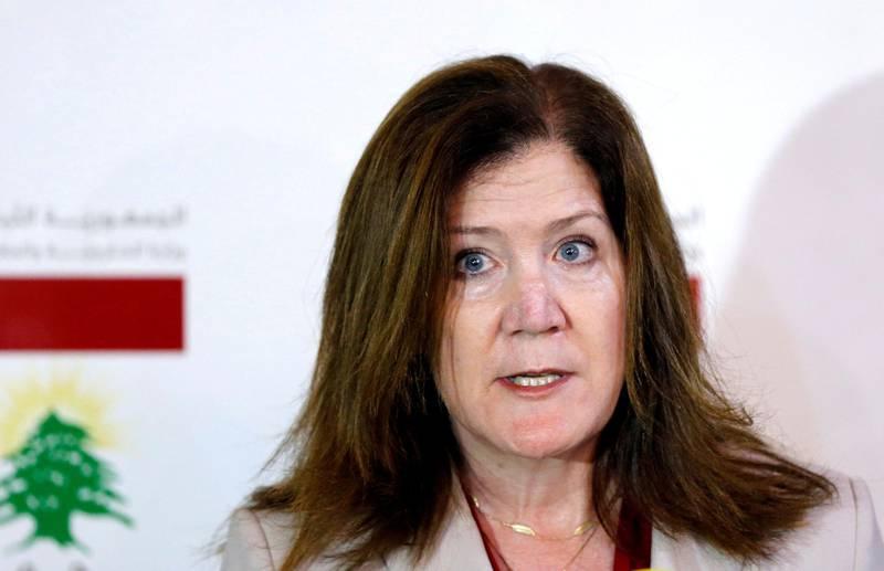 FILE PHOTO: U.S. Ambassador to Lebanon Dorothy Shea speaks during a news conference in Beirut, Lebanon, June 29, 2020. REUTERS/Mohamed Azakir/File Photo