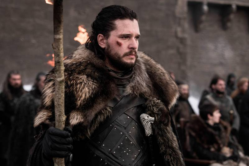 """This image released by HBO shows Kit Harington in a scene from """"Game of Thrones.""""  On Tuesday, July 16, 2019, Harington was nominated for an Emmy Award for outstanding lead actor in a drama series.  (HBO via AP)"""
