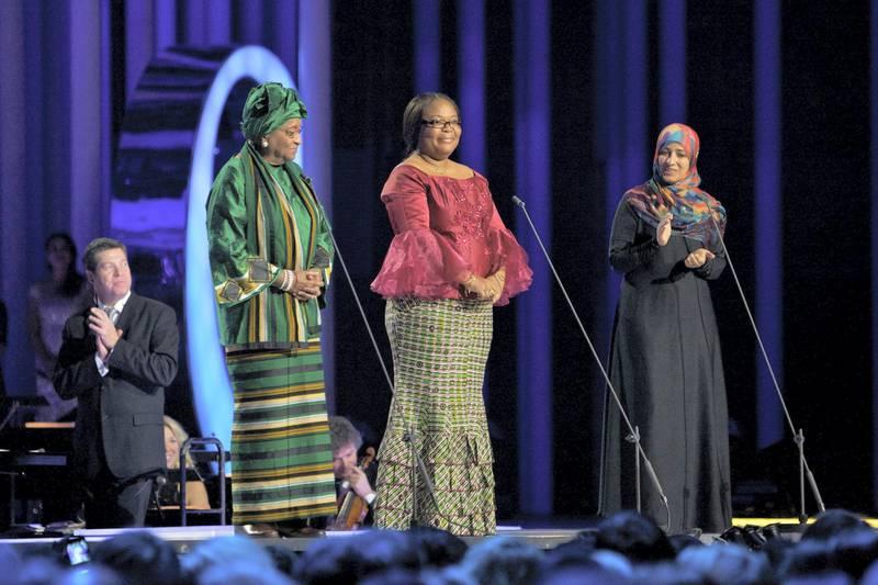 OSLO, NORWAY - DECEMBER 11: The Nobel Peace Prize laureates Ellen Johnson Sirleaf, Leymah Gbowee and Tawakul Karman speak  onstage during the Nobel Peace Prize Concert at Oslo Spektrum on December 11, 2011 in Oslo, Norway. (Photo by Ragnar Singsaas/Getty Images)