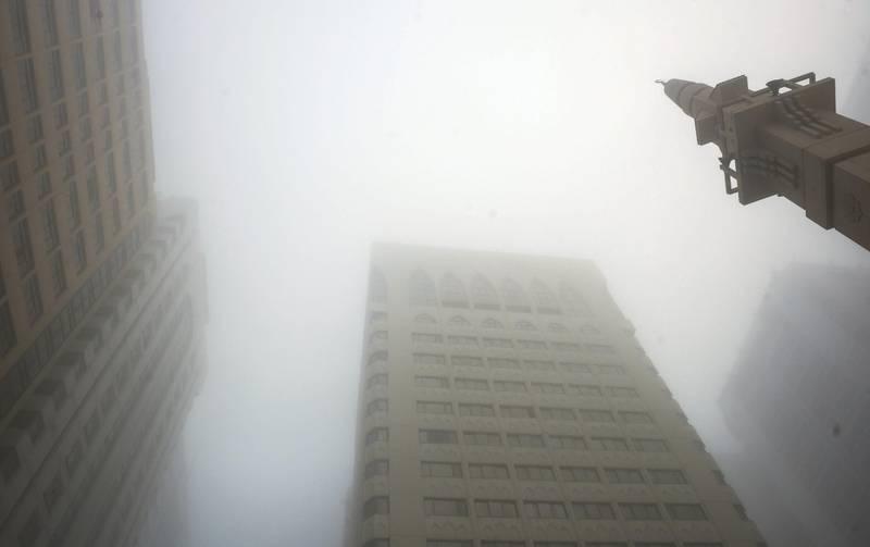 Abu Dhabi, United Arab Emirates -  Dense fog in the city of Abu Dhabi on Christmas morning, December 25, 2017. (Khushnum Bhandari/ The National)