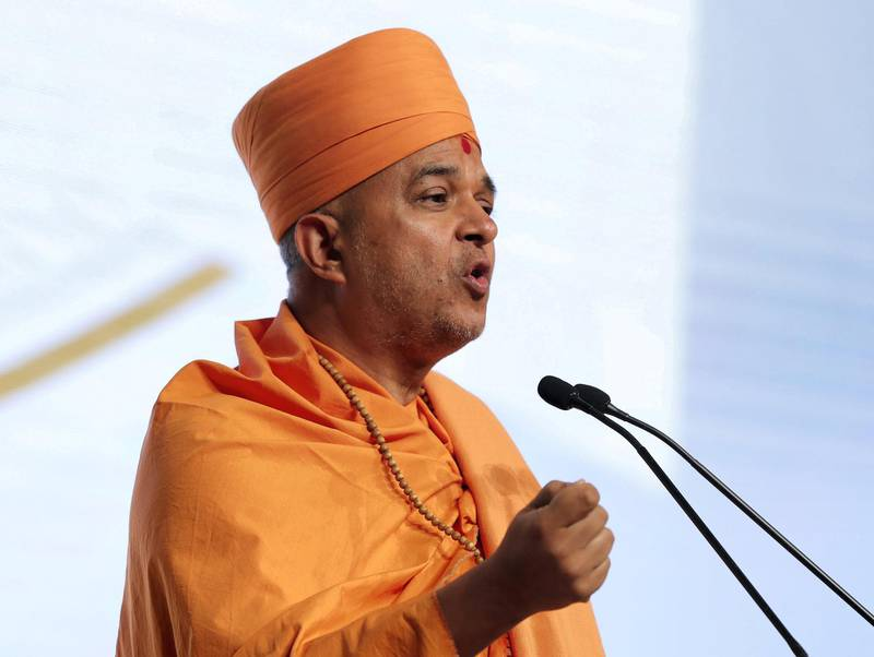Abu Dhabi, United Arab Emirates - February 03, 2019: H.E. Swami Brahmavihari speaks in the second session at the Global Conference of Human Fraternity. Sunday the 3rd of February 2019 at Emirates Palace, Abu Dhabi. Chris Whiteoak / The National