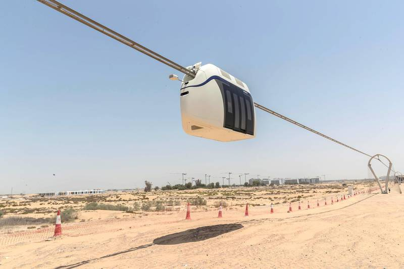 The Sky Train currently under development by uSky Transport FZE in Sharjah. The company is developing a suspended train system that can both run cargo and passenger vehicles at a projected speed of a 150km's per hour. Pictured is the passenger pod currently being tested on June 6th, 2021. Antonie Robertson / The National.Reporter: Nick Webster for National
