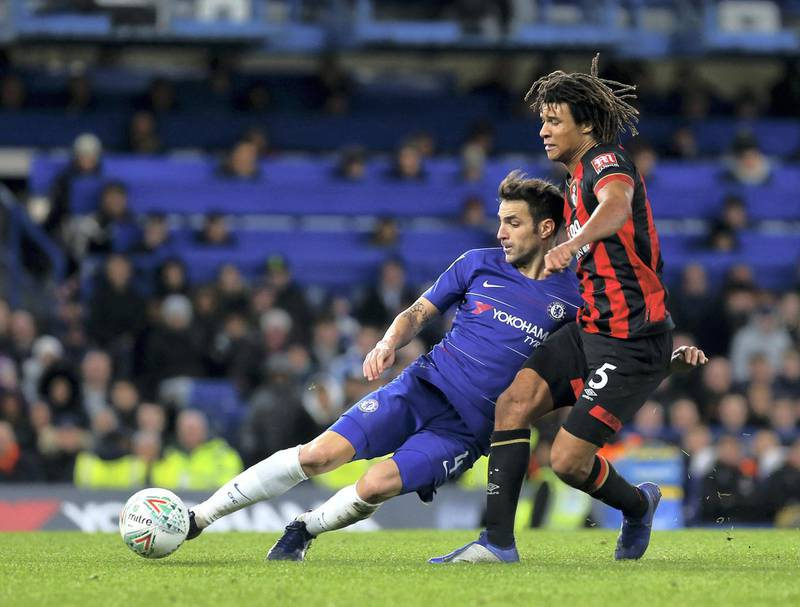 LONDON, ENGLAND - DECEMBER 19: Cesc Fabregas of Chelsea FC and Nathan Ake of AFC Bournemouth in action during the Carabao Cup Quarter Final match between Chelsea FC and AFC Bournemouth at Stamford Bridge on December 19, 2018 in London, United Kingdom. (Photo by Chloe Knott - Danehouse/Getty Images)