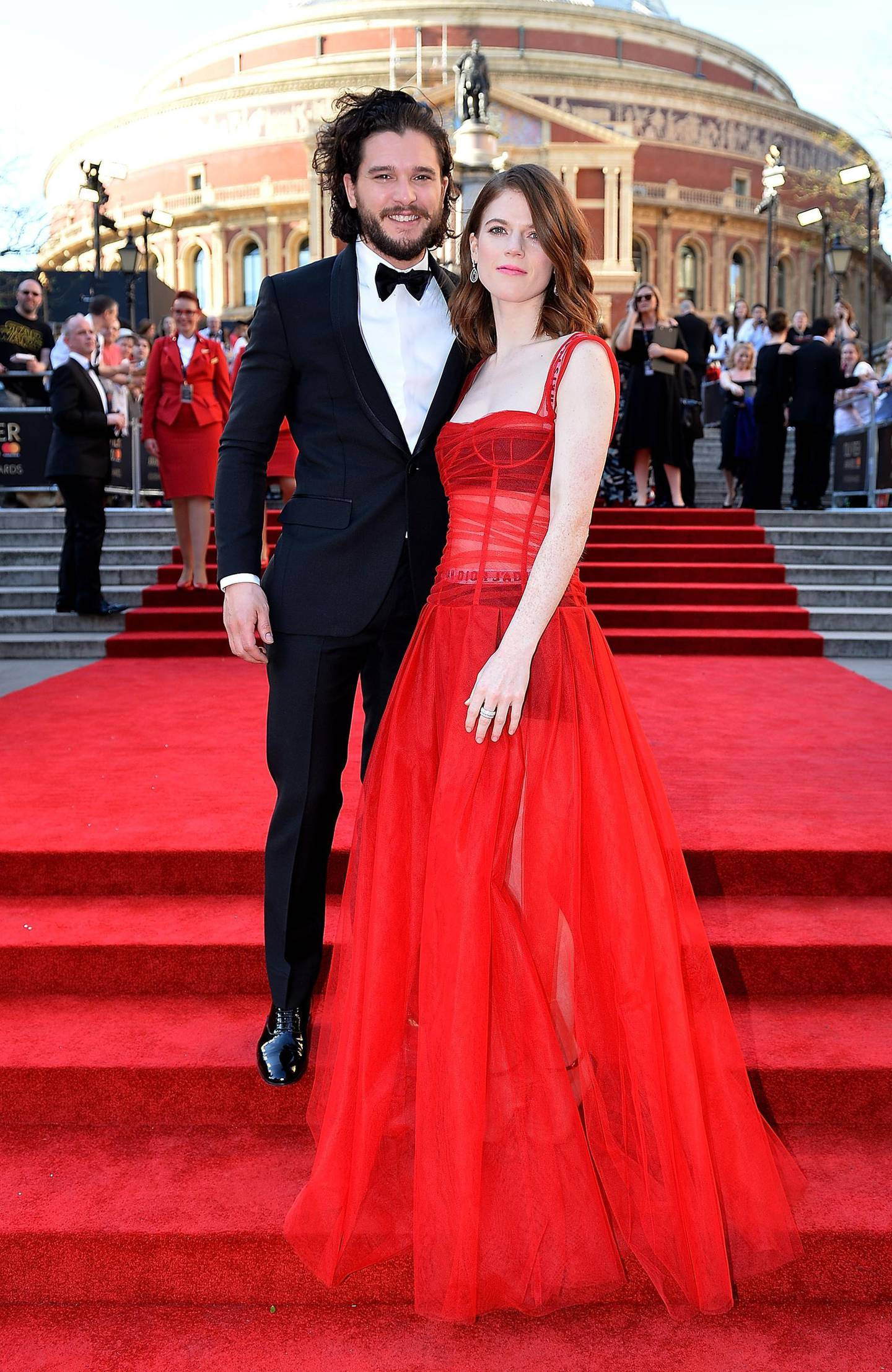 FILE - FEBRUARY 16: Actors Kit Harington and Rose Leslie have welcomed their first child. LONDON, ENGLAND - APRIL 09:  Rose Leslie and Kit Harington attend The Olivier Awards 2017 at Royal Albert Hall on April 9, 2017 in London, England.  (Photo by Jeff Spicer/Getty Images)
