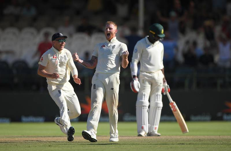CAPE TOWN, SOUTH AFRICA - JANUARY 07: England player Ben Stokes celebrates the wicket of  Vernon Philander to win the match for England during Day Five of the Second Test between South Africa and England at Newlands on January 07, 2020 in Cape Town, South Africa. (Photo by Stu Forster/Getty Images)