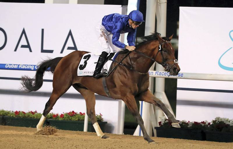 DUBAI , UNITED ARAB EMIRATES , Feb 6  – 2020 :-  Christophe Soumillon (no 3) guides Benbatl (GB)  to win the 5th horse race, Al Maktoum Challenge , 1900m Dirt at the Meydan Racecourse in Dubai. ( Pawan Singh / The National ) For Sports. Story by Amith