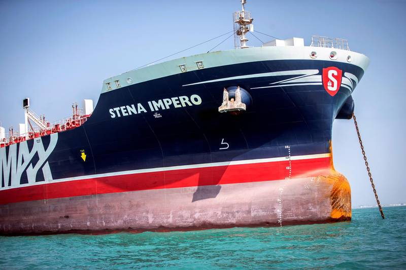FILE PHOTO: Stena Impero, a British-flagged vessel owned by Stena Bulk, is seen at undisclosed place off the coast of Bandar Abbas, Iran August 22, 2019. Nazanin Tabatabaee/WANA (West Asia News Agency) via REUTERS. ATTENTION EDITORS - THIS IMAGE HAS BEEN SUPPLIED BY A THIRD PARTY./File Photo