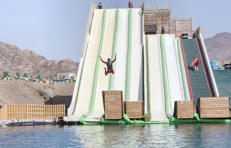 Hatta, United Arab Emirates - The newly opened dropin slide at Hatta Wadi Hub, Hatta, Dubai.  Leslie Pableo for The National