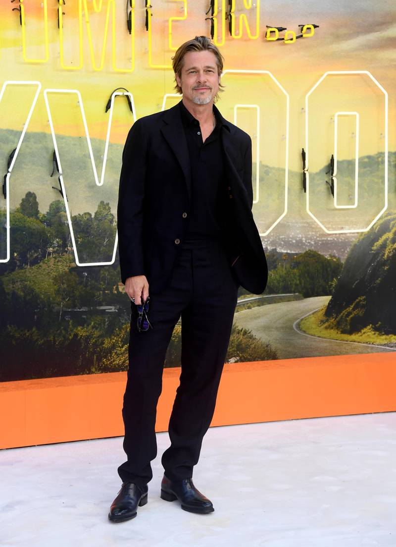 """LONDON, ENGLAND - JULY 30:  Brad Pitt attends the """"Once Upon a Time... in Hollywood"""" UK Premiere at the Odeon Luxe Leicester Square on July 30, 2019 in London, England. (Photo by Gareth Cattermole/Getty Images)"""