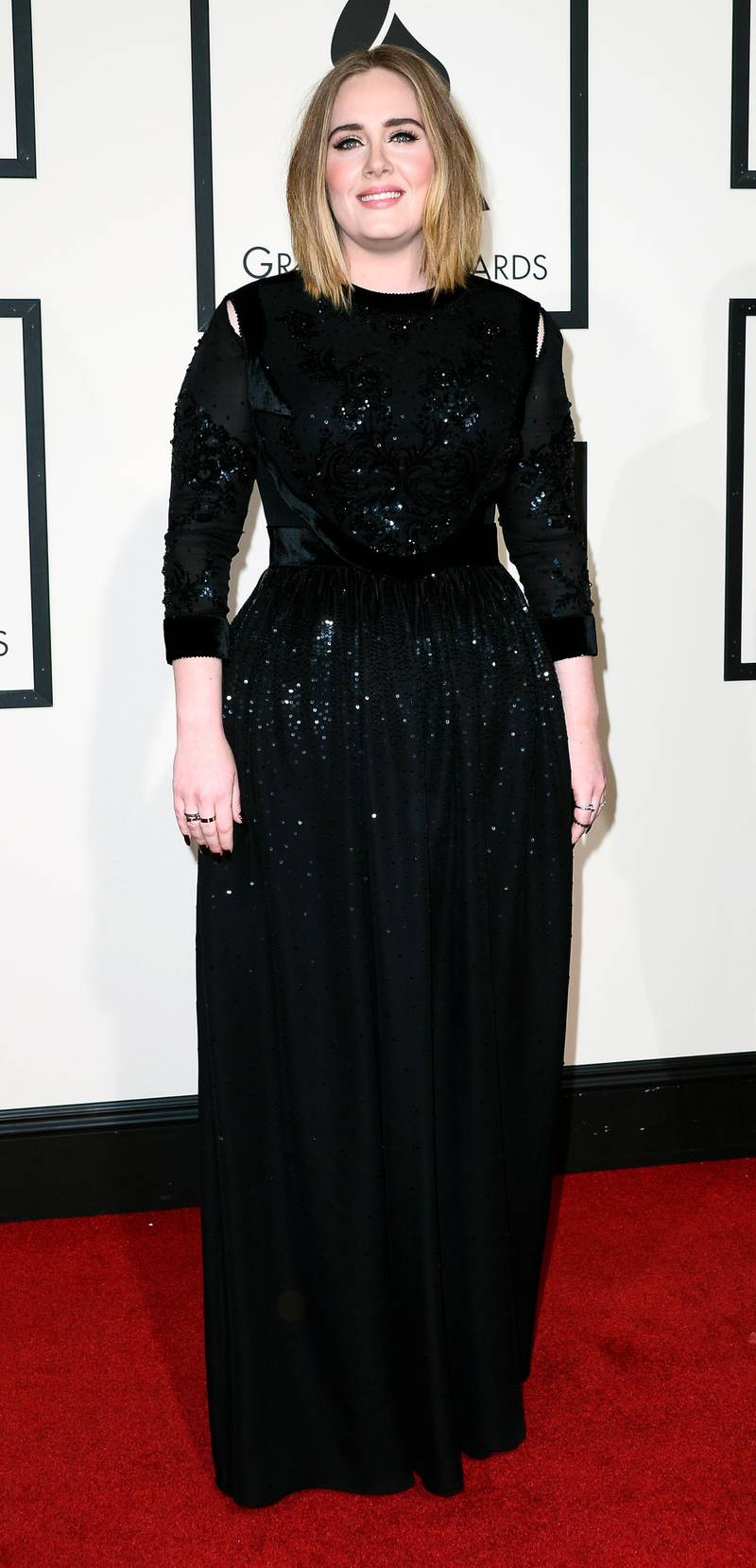 epa05662583 (FILE) A file picture dated 15 February 2016, of British singer Adele arriving for the 58th annual Grammy Awards at the Staples Center in Los Angeles, California, USA. The 2017 Grammy nominees were announced 06 December 2016, with Adele receiving five nominations, including Record of the Year.  EPA/PAUL BUCK