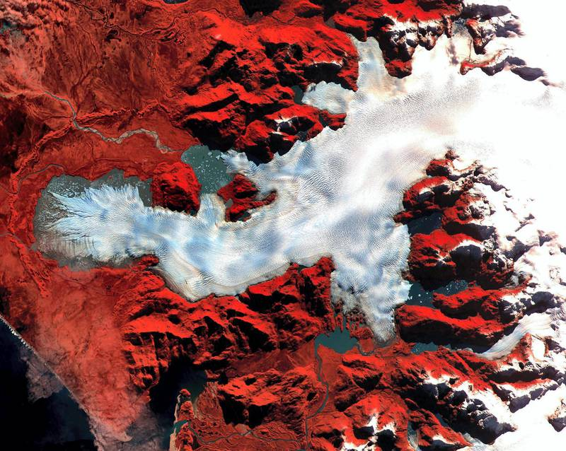 This image was acquired by NASA's Terra satellite on May 2, 2000 over the North Patagonia Ice Sheet in Chile, South America.