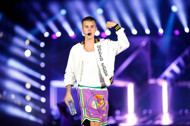 Dubai, United Arab Emirates, May 06, 2017: Justin Bieber performs in concert on Saturday, May. 06, 2017, at the Autism Rocks Arena in Dubai. Chris Whiteoak for The National *** Local Caption ***  CW_0605_JustinBieber_27.JPG