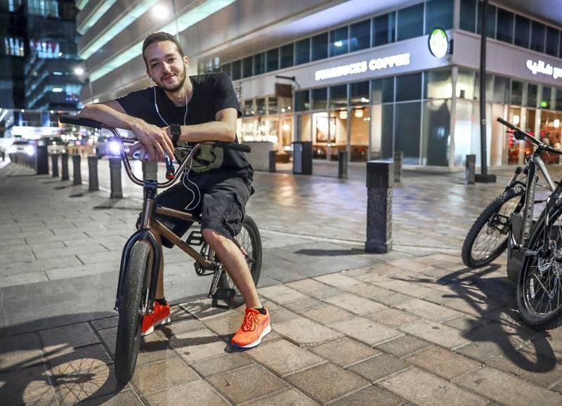 "Abu Dhabi, U.A.E., November 5, 2018.   Neighbourhood: ""Starbucks"" - It goes by many names. Starbucks. New York.  --  BMX rider from the neighborhood, Haitham Al Bayed- 23.Victor Besa / The NationalSection:  NAReporter:  Anna Zacharias"
