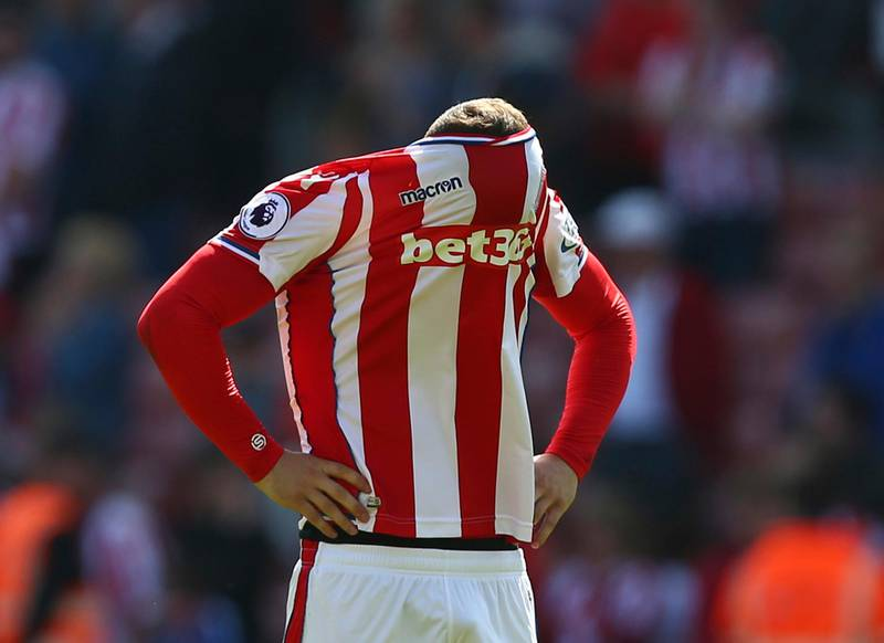 Stoke City's Xherdan Shaqiri reacts after Stoke City are relegated, following the English Premier League soccer match between Stoke City and Crystal Palace, at the bet365 Stadium, in Stoke, England, Saturday May 5, 2018. (Dave Thompson/PA via AP)