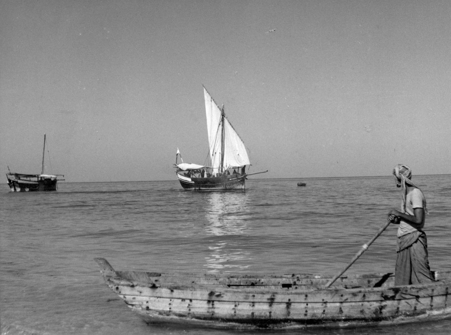 Abu Dhabi, Trucial States; Undated (late 1950 s, early 1960 s)  Photograph showing dhows off the coast of Abu Dhabi Courtesy BP Archive. Mandatory Credit.  Eds note. Karen  ** Free usage but  email BP Abu Dhabi to notify of publication** Nick.Cochrane-Dyet@se1.bp.co