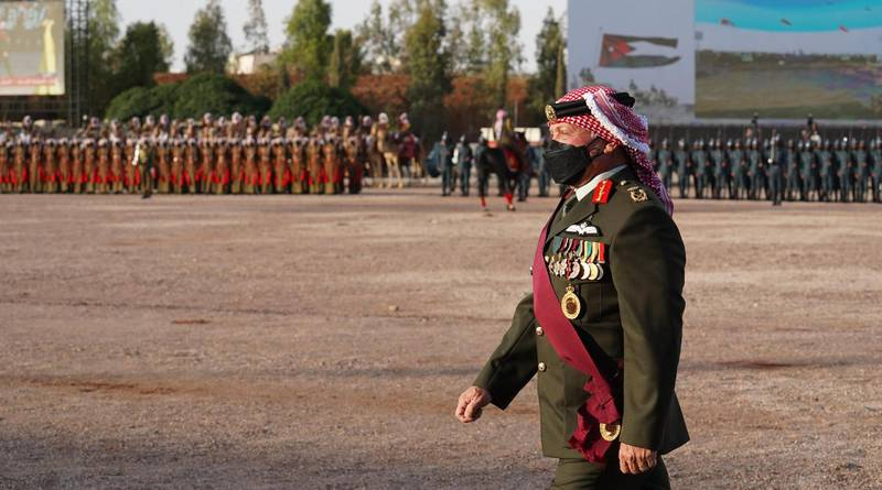 King Abdullah II, the Supreme Commander of the Jordan Armed Forces-Arab Army, accompanied by Crown Prince Al Hussein, attends JAF and security agencies' ceremony marking the state's centennial. Courtesy Royal Hashemite Court