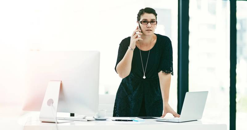 Portrait of a young businesswoman working at her desk in an office (Getty Images) *** Local Caption ***  on02ap-hl-office.jpg