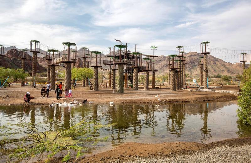 Hatta, United Arab Emirates -Family activities  at Hatta Wadi Hub where the newly opened dropin slide is also the latest attraction.  Leslie Pableo for The National