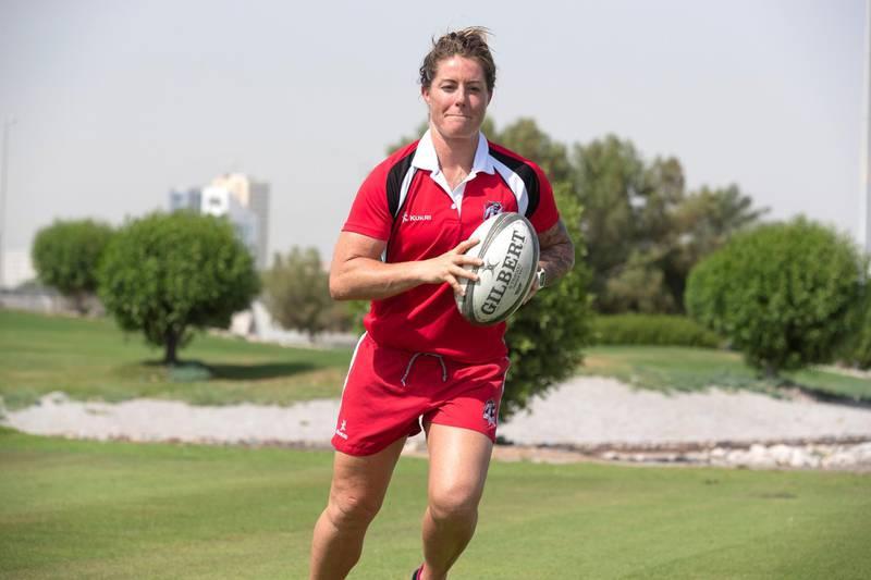 RAS AL KHAIMAH, UNITED ARAB EMIRATES. MAY 2018. Fromer British National Female Rugby Team player Jane Leonard. (Photo: Antonie Robertson/The National) Journalist: Paul Radley. Section: National.