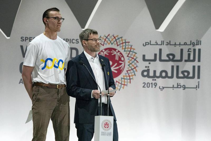 ABU DHABI, UNITED ARAB EMIRATES - March 21, 2019: Representatives of the next Special Olympics, deliver a speech during the closing ceremony of the Special Olympics World Games Abu Dhabi 2019, at Zayed Sports City.    ( Hamad Al Mansoori for Ministry of Presidential Affairs ) ---