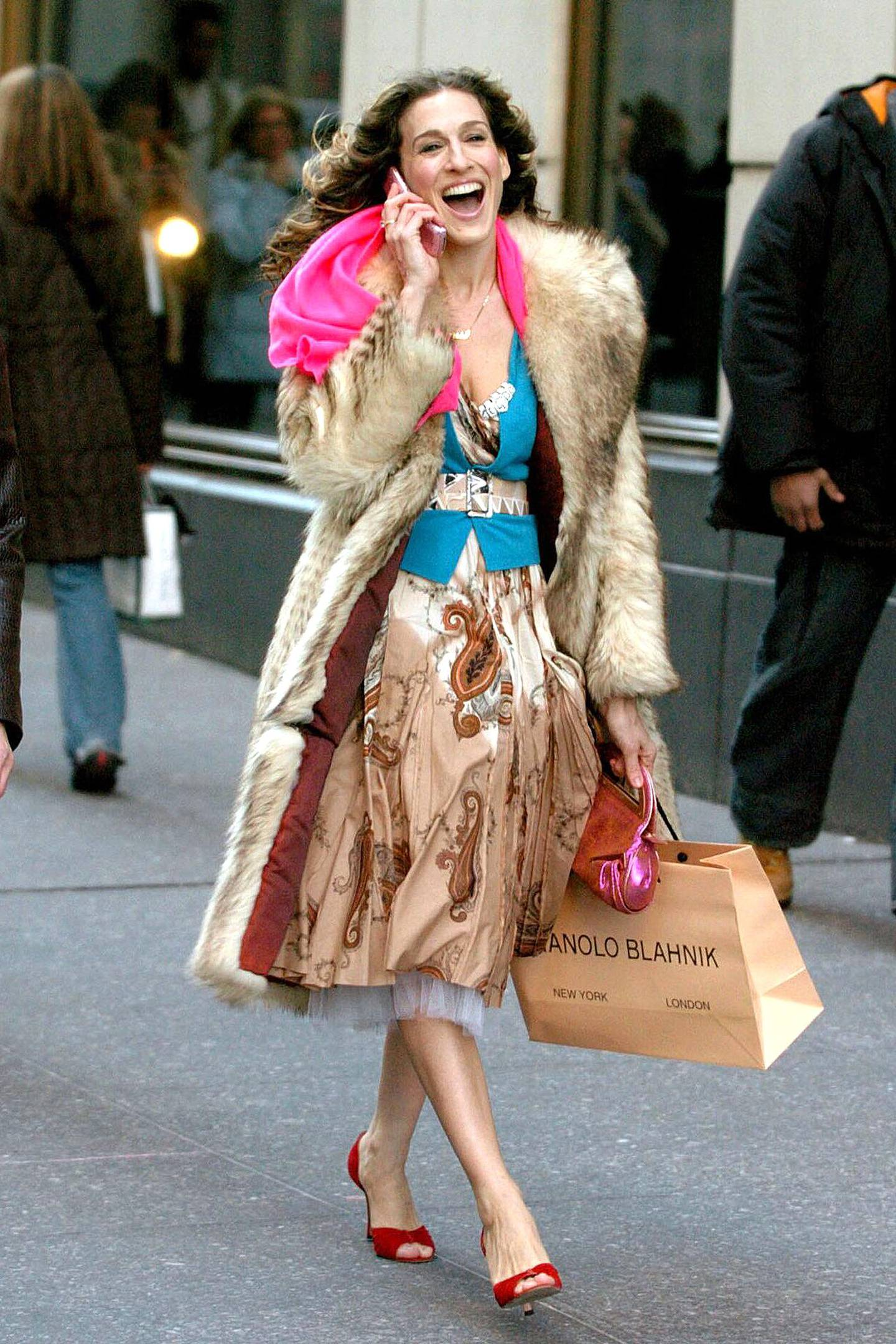 Carrie Bradshaw in a scene from the HBO series, Sex and the City. CEDIT: Courtesy HBO