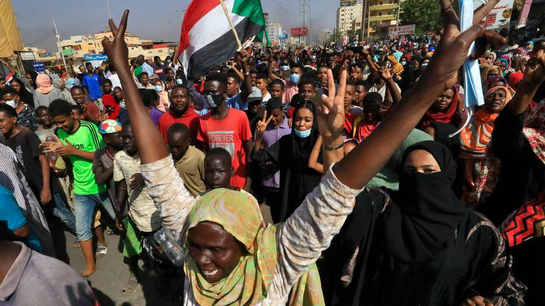 An image that illustrates this article Sudanese protest military takeover - in pictures