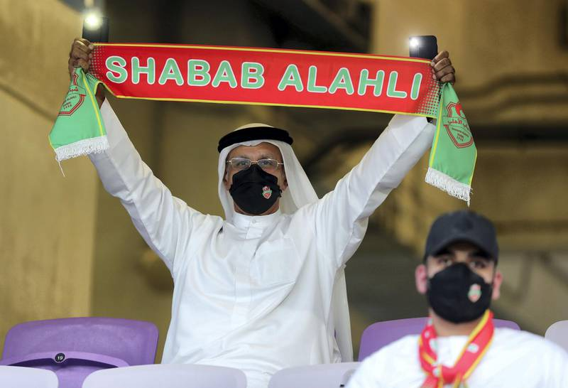 Shabab Al Ahli fans before the game between Shabab Al Ahli and Al Nasr in the PresidentÕs Cup final in Al Ain on May 16th, 2021. Chris Whiteoak / The National.  Reporter: John McAuley for Sport
