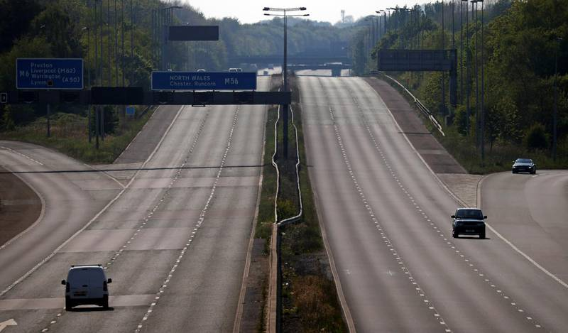 A view of a quiet M56 motorway, as spread of the coronavirus disease (COVID-19) continues, near Warrington, Britain April 25, 2020. REUTERS/Phil Noble
