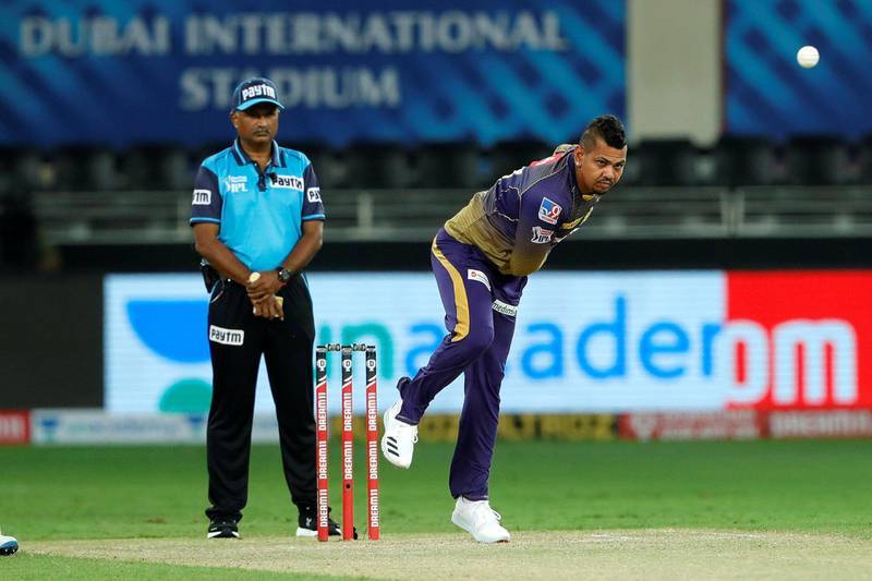 Sunil Narine of Kolkata Knight Riders bowling during match 12 of season 13 of the Dream 11 Indian Premier League (IPL) between the Rajasthan Royals and the Kolkata Knight Riders held at the Dubai International Cricket Stadium, Dubai in the United Arab Emirates on the 30th September 2020.  Photo by: Saikat Das  / Sportzpics for BCCI