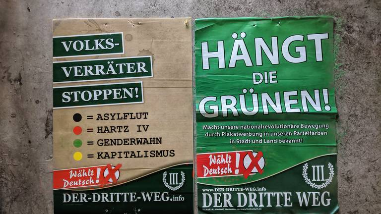 An image that illustrates this article Anger at neo-Nazi posters in German election