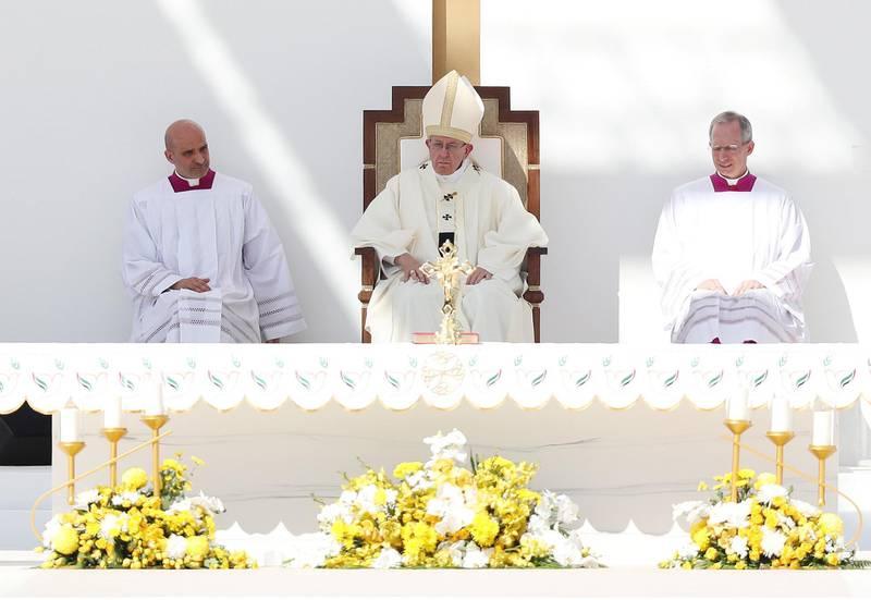 Abu Dhabi, United Arab Emirates - February 05, 2019: Pope Francis takes a large public mass to mark his land mark visit to the UAE. Tuesday the 5th of February 2019 at Zayed Sports city stadium, Abu Dhabi. Chris Whiteoak / The National
