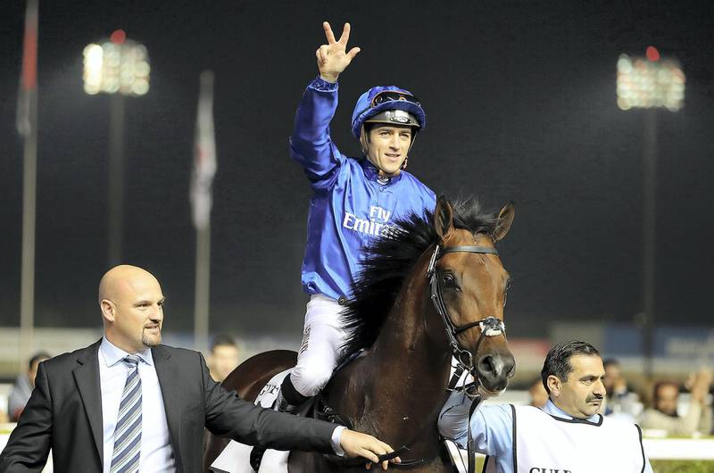 DUBAI , UNITED ARAB EMIRATES , FEB 08  – 2017 :- Thunder Snow  ( IRE ) ridden by Christophe Soumillon ( no 8   ) won the fifth horse race 1900 m dirt held at Meydan Racecourse in Dubai. ( Pawan Singh / The National ) For Sports. Story by Amith