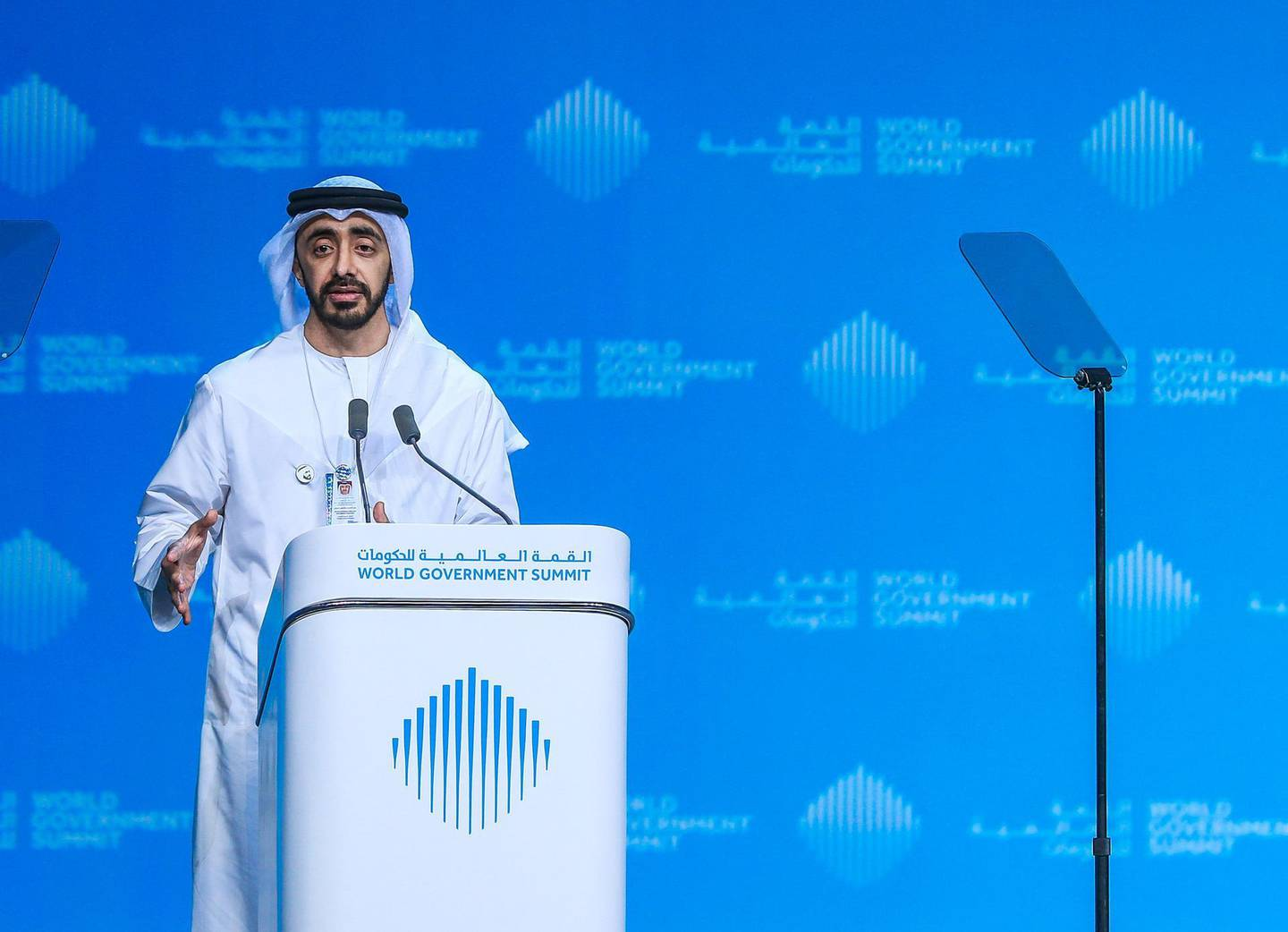 Dubai, U.A.E., February 10, 2019.  Pope message followed H.H. Sheikh Abdullah Bin Zayed Al Nahyan, Minister of Foreign Affairs and International Cooperation, UAE, reflects on Pope's Visit.by Victor Besa/The NationalSection:  NAReporter: