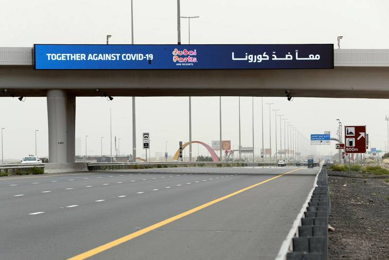 Dubai, United Arab Emirates - Reporter: N/A: A sign outside Dubai Parks and resorts offers support to the frontline heroes. Sunday, April 12th, 2020. Dubai. Chris Whiteoak / The National