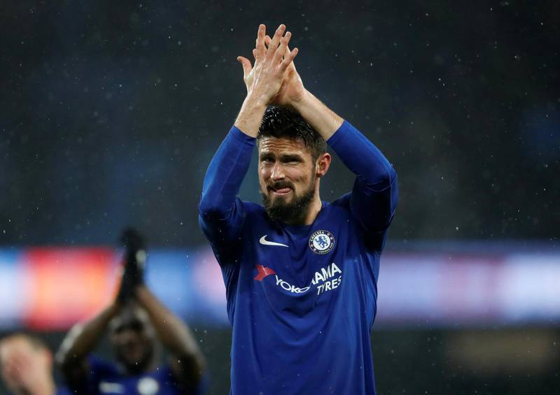 """Soccer Football - Premier League - Manchester City vs Chelsea - Etihad Stadium, Manchester, Britain - March 4, 2018   Chelsea's Olivier Giroud applauds fans after the match     Action Images via Reuters/Carl Recine    EDITORIAL USE ONLY. No use with unauthorized audio, video, data, fixture lists, club/league logos or """"live"""" services. Online in-match use limited to 75 images, no video emulation. No use in betting, games or single club/league/player publications.  Please contact your account representative for further details."""