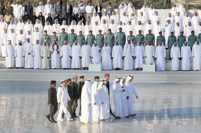 ABU DHABI, UNITED ARAB EMIRATES - - -  November 30, 2016 ---  The Rulers of the United Arab Emirates were among those who attended and celebrated Abu Dhabi's first Commemoration Day at the Wahat Al Karama memorial in Abu Dhabi on Wednesday, November 30, 2016, along with VIPs, and UAE residents and visitors.   ( DELORES JOHNSON / The National )   ID: 53401 Reporter: Thamer Section: NA *** Local Caption ***  DJ-301116-NA-Commemoration Day-53401-008.jpg
