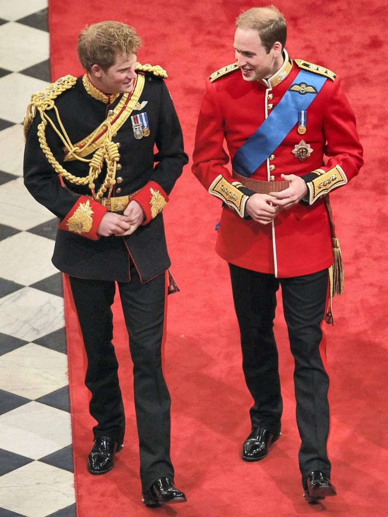LONDON, ENGLAND - APRIL 29: (L-R) Prince Harry and Prince William Duke of Cambridge inside Westminster Abbey on April 29, 2011 in London, England. The marriage of Prince William, the second in line to the British throne, to Catherine Middleton is being held in London today. The Archbishop of Canterbury conducted the service which was attended by 1900 guests, including foreign Royal family members and heads of state. Thousands of well-wishers from around the world have also flocked to London to witness the spectacle and pageantry of the Royal Wedding and street parties are being held throughout the UK.   (Photo by  Andrew Milligan - WPA Pool/Getty Images)