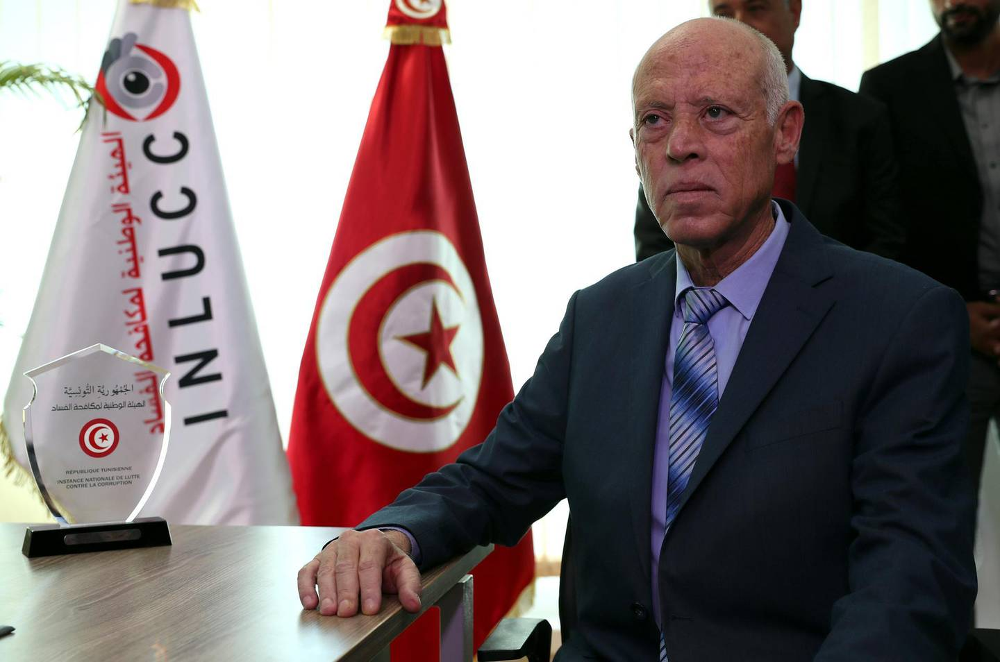 epa07938702 Newly-elected Tunisian President Kais Saied presents statement of his property at the headquarters of the Tunisian anti-corruption authority (INLUCC) in Tunis, Tunisia, 21 October 2019. According to the constitution requirements, Kais Saied declared his property at the anti-corruption authority before taking office on 23 October 2019.  EPA/MOHAMED MESSARA