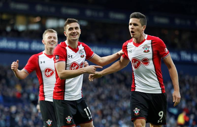 Soccer Football - FA Cup Fifth Round - West Bromwich Albion vs Southampton - The Hawthorns, West Bromwich, Britain - February 17, 2018   Southampton's Dusan Tadic celebrates scoring their second goal with Guido Carrillo    Action Images via Reuters/Carl Recine
