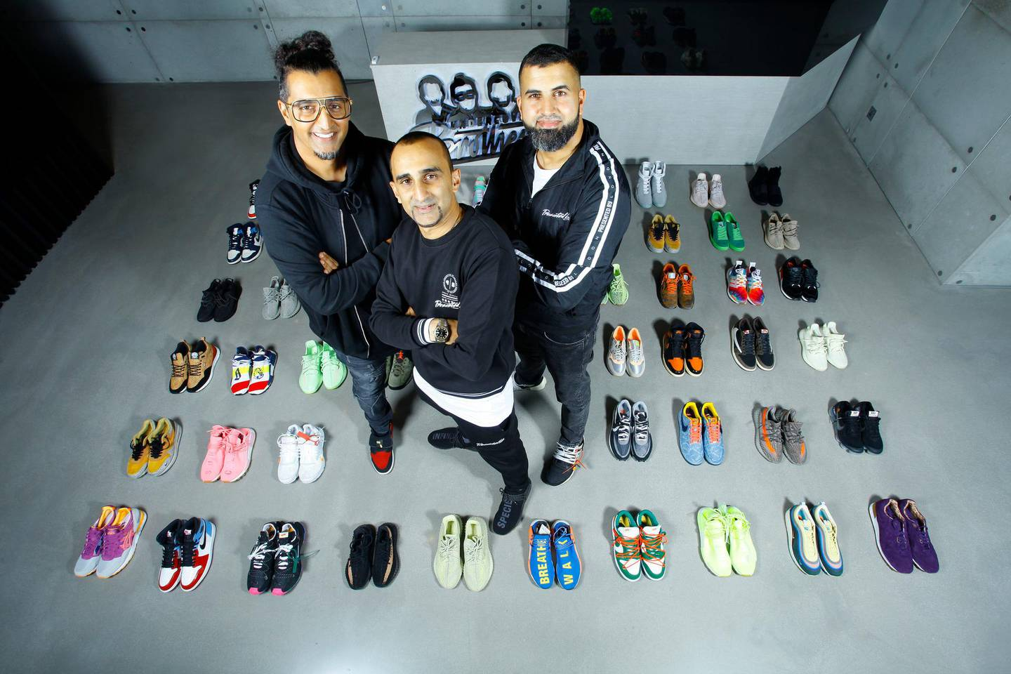 Crep Protect owners and brothers, Nohman (beard), Imran (glasses), Riz Ahmed