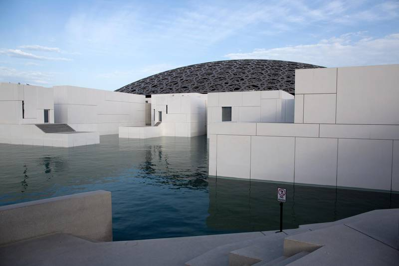 epa08295068 Exterior view of the closed Louvre Abu Dhabi museum in Abu Dhabi, United Arab Emirates, 15 March 2020. The United Arab Emirates shut down major tourism and cultural venues, including some parks, until 30 March 2020 amid the ongoing coronavirs pandemic.  EPA/MAHMOUD KHALED