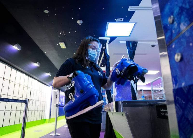 DUBAI, UNITED ARAB EMIRATES. 11 JUNE 2020. Skating shoes sanitized at the Ice Rink in Dubai Mall.(Photo: Reem Mohammed/The National)Reporter:Section: