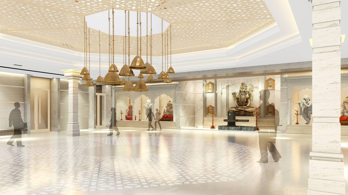 Rendering of first floor player hall, The Hindu Temple, Jebel Ali. Courtesy Hindu Temple, Jebel Ali