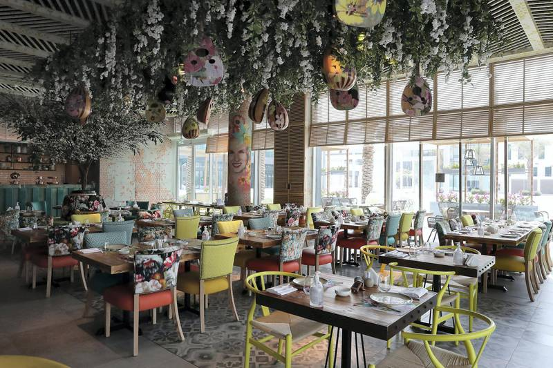 Inside view of the Grand Beirut restaurant at Dubai Digital Park in Dubai Silicon Oasis in Dubai on June 22,2021. Pawan Singh / The National. Story by Janice Rodrigues